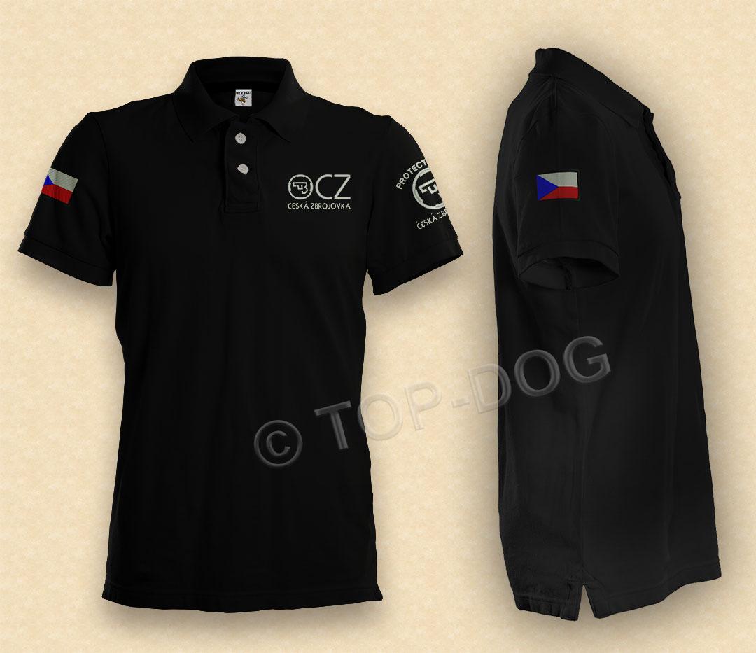 Sport shooting polo shirt cz 75 with custom made flag for Custom tailored polo shirts