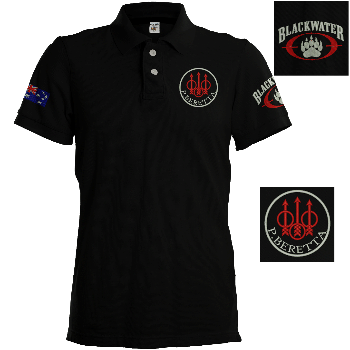 Beretta embroidered polo shirt sport shooting hunting team for Team sport shirts custom