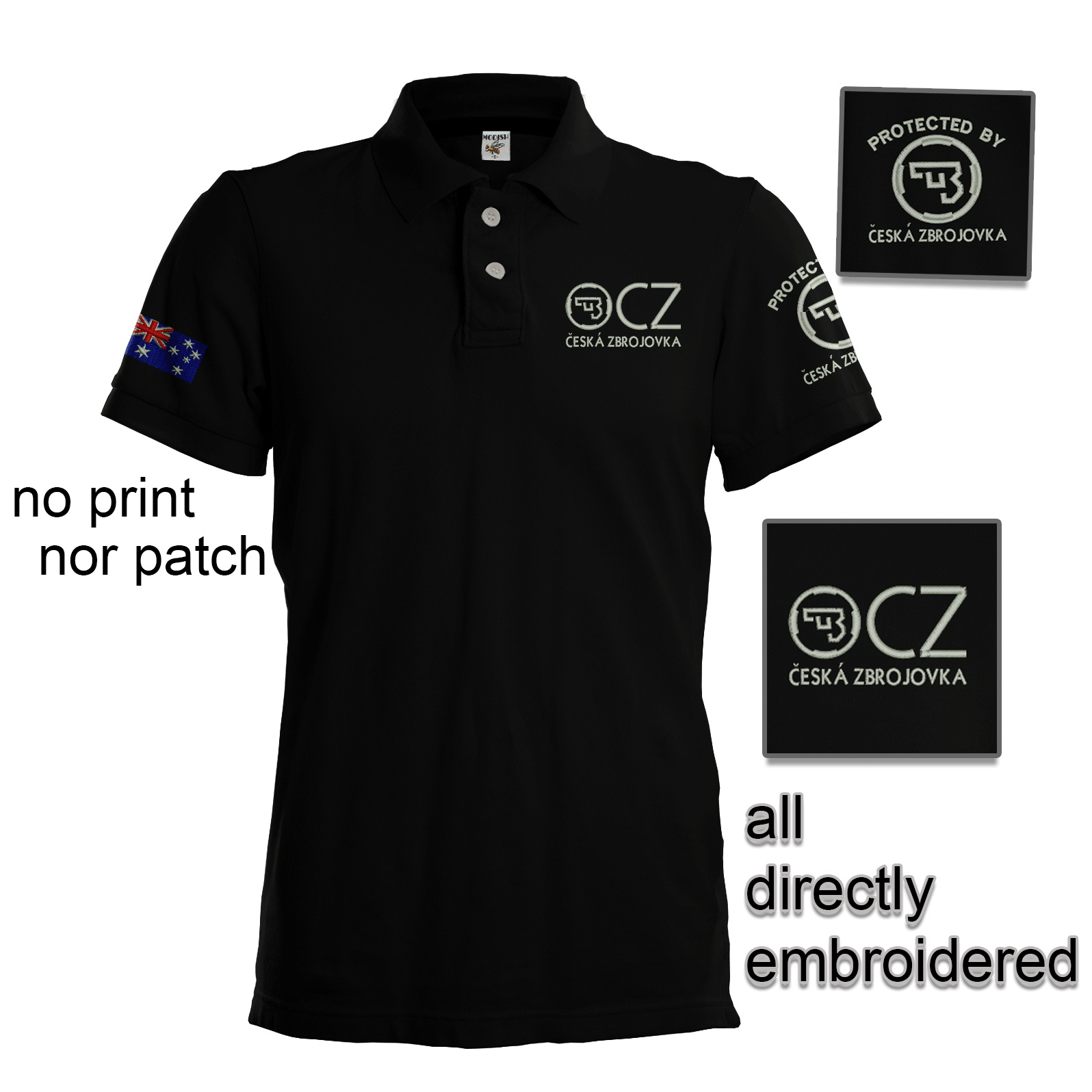 Bkk bargains cz cesk zbrojovka embroidered polo shirt for Work polo shirts with logo