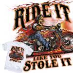 American Biker T-Shirt Route 66  Harley Skull Rider USA MC