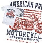American Pride Motorcycle T-Shirt Classic USA Biker Route 66 Harley Ride