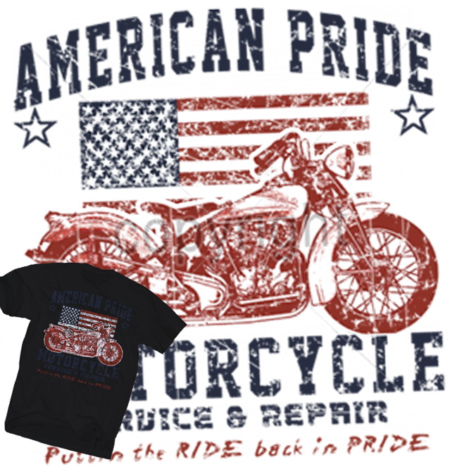 Bkk bargains american pride motorcycle t shirt classic for American classic usa